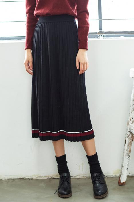 色中色����z)�h�_秋冬新款 文艺复古拼色高腰中长款针织半身裙加厚风琴百褶裙