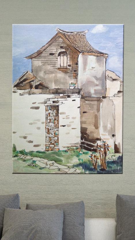 手绘,丙烯画,油画,禅意小画,装饰画,古镇风景画