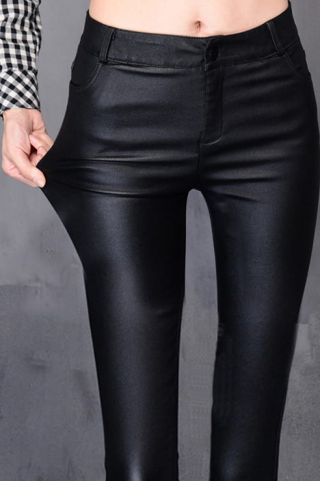 初中生高腰黑色皮裤