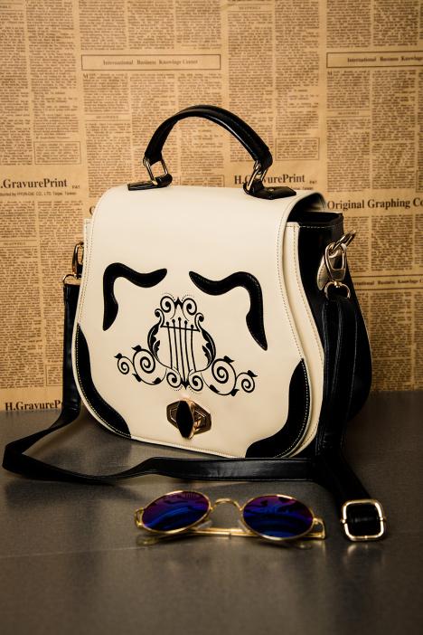 【印花黑白竖琴复古欧式马蹄创意包包】-箱包皮具