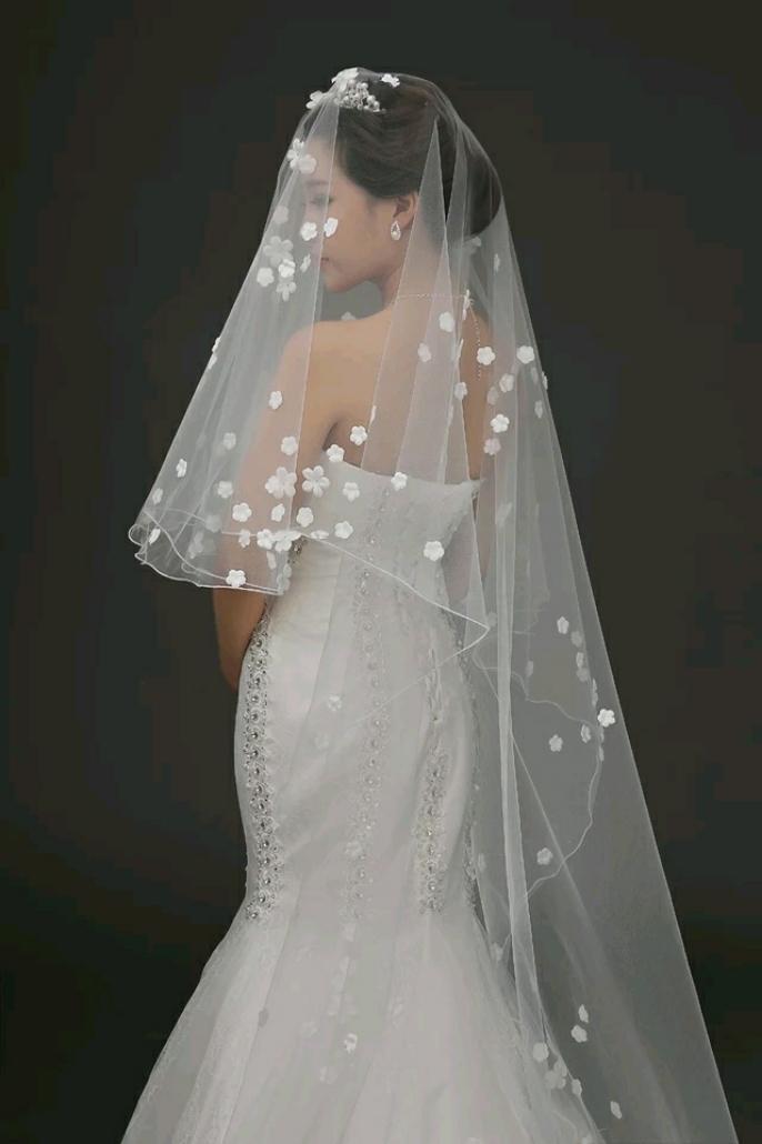 新娘头纱结婚韩式婚纱齐地拖尾蕾