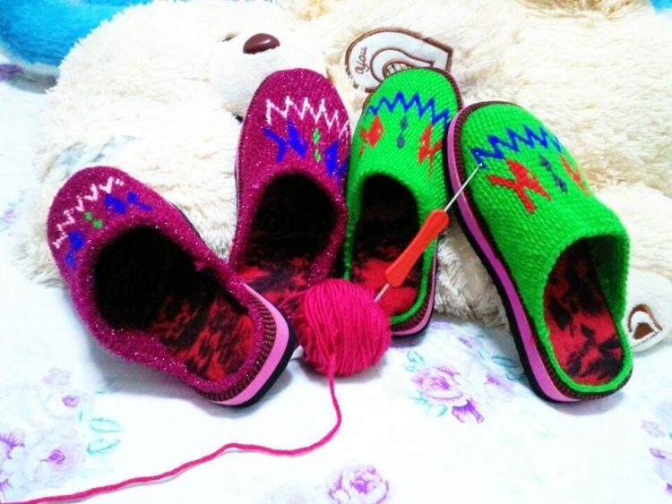 手工毛线棉鞋熊猫图纸