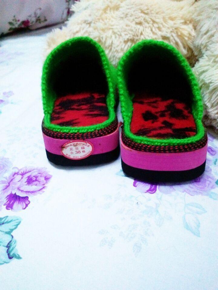 【纯手工编织女家居棉拖鞋暖冬手工织鞋毛线拖鞋