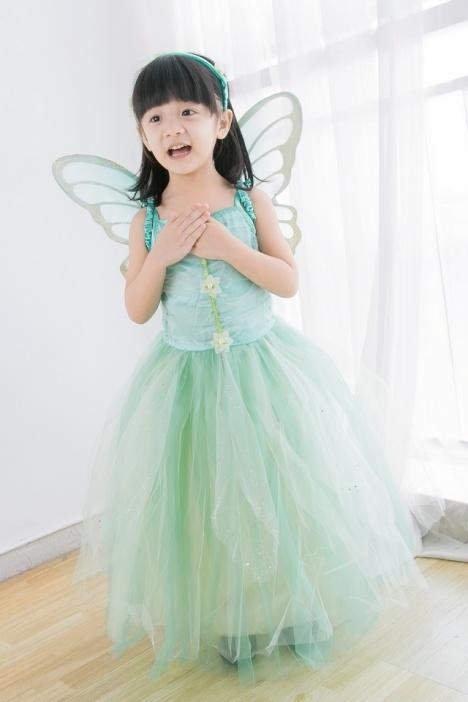圣诞节服装公主裙女童小精灵花仙子童装儿童婚纱裙演出服