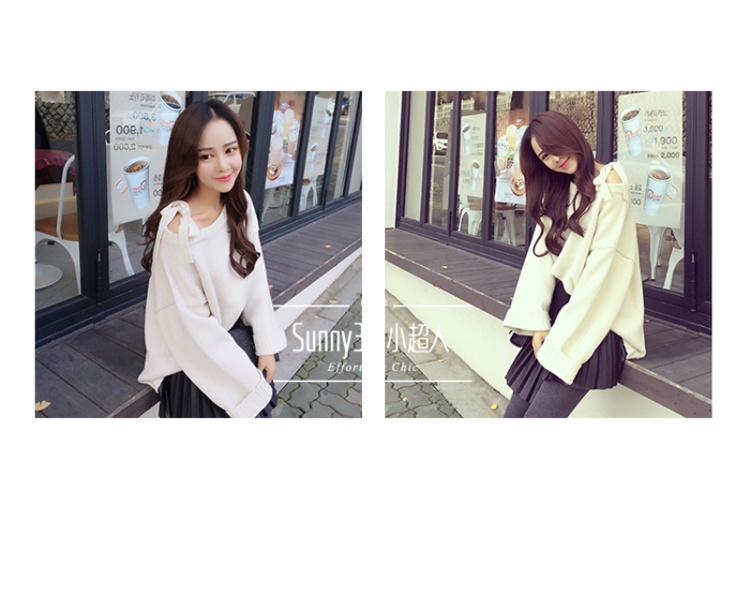 【韩版新款露肩蝴蝶结毛衣】-衣服-服饰鞋包