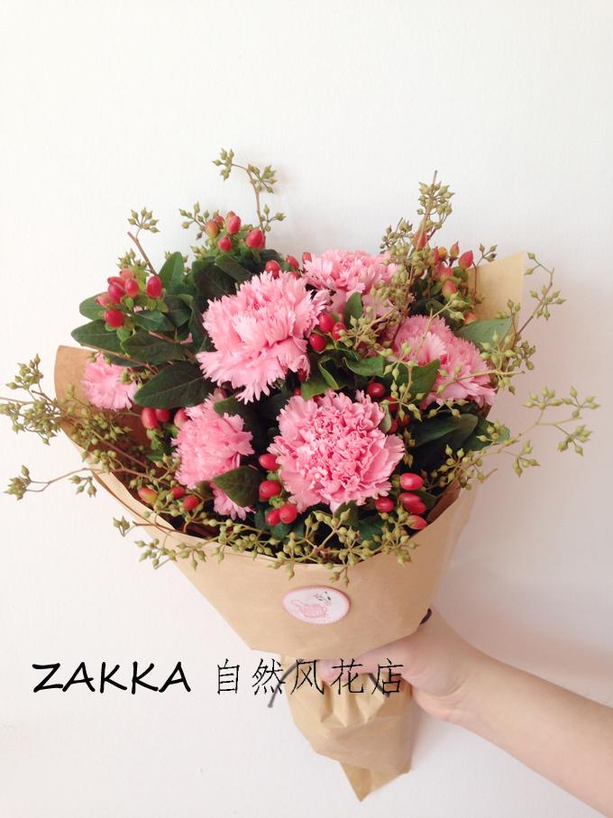 【zakka自然风鲜花花束全国鲜花速递圣诞节生日粉色