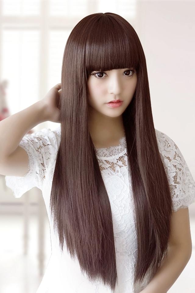 买一送二 长直发齐刘海假头发女士中长发自然逼真修脸学生发型图片
