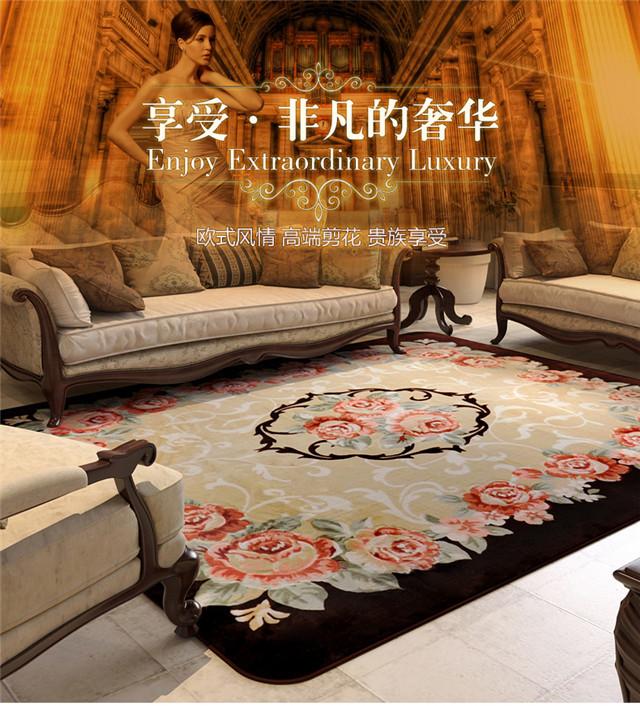 【客厅欧式茶几防滑卧室沙发玫瑰花地毯】-家居-居家