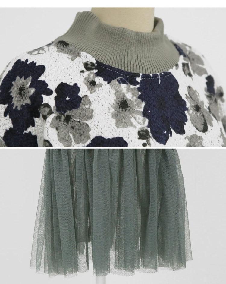 【redopin-花纹半高领长袖连衣裙】-衣服-裙子_连衣裙