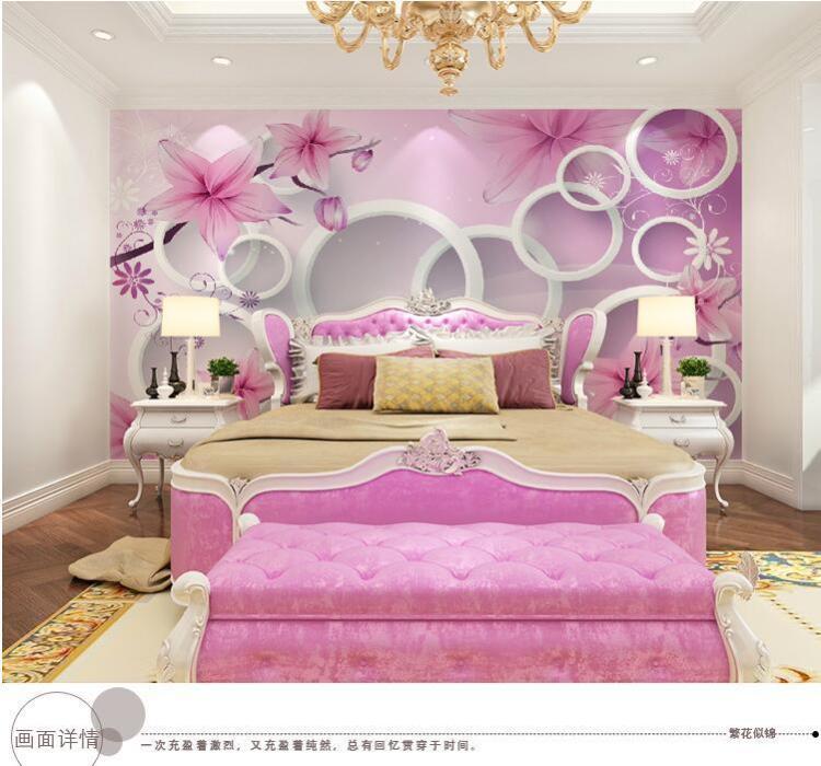 欧式粉色墙纸主卧室装修效果图