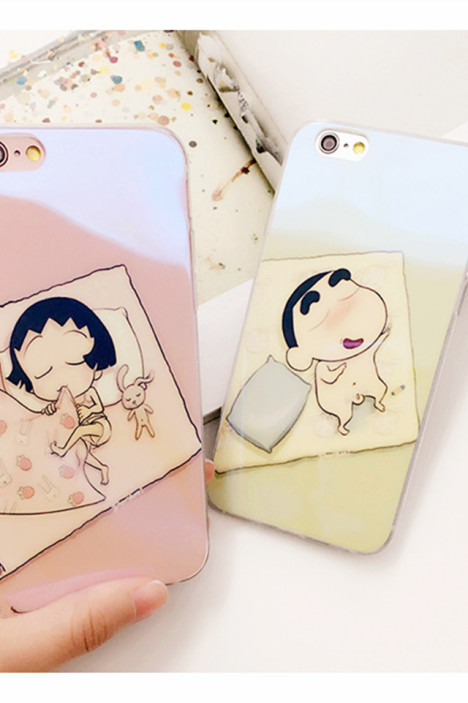 新款萌萌哒小新小丸子iphone卡通情侣手机壳保护套