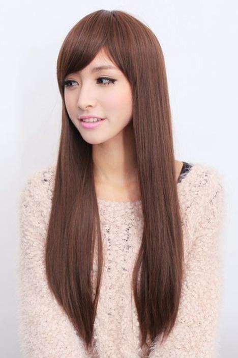 假发长直发逼真修脸可爱 实拍韩国女长发整顶斜刘海假发套