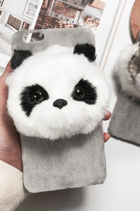 日本代购毛绒熊猫猫咪动物iphone6s手机壳苹果