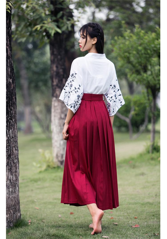 彼岸花&玫瑰和风刺绣绣花和风套装两件套
