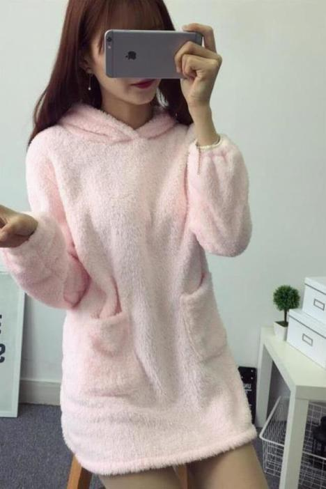 韩系学院风可爱兔耳朵珊瑚绒睡裙