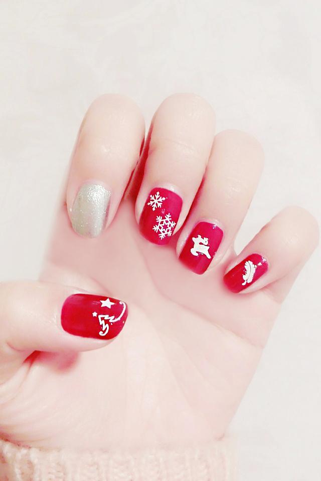 (5张)新年雪花小鹿diy指甲贴