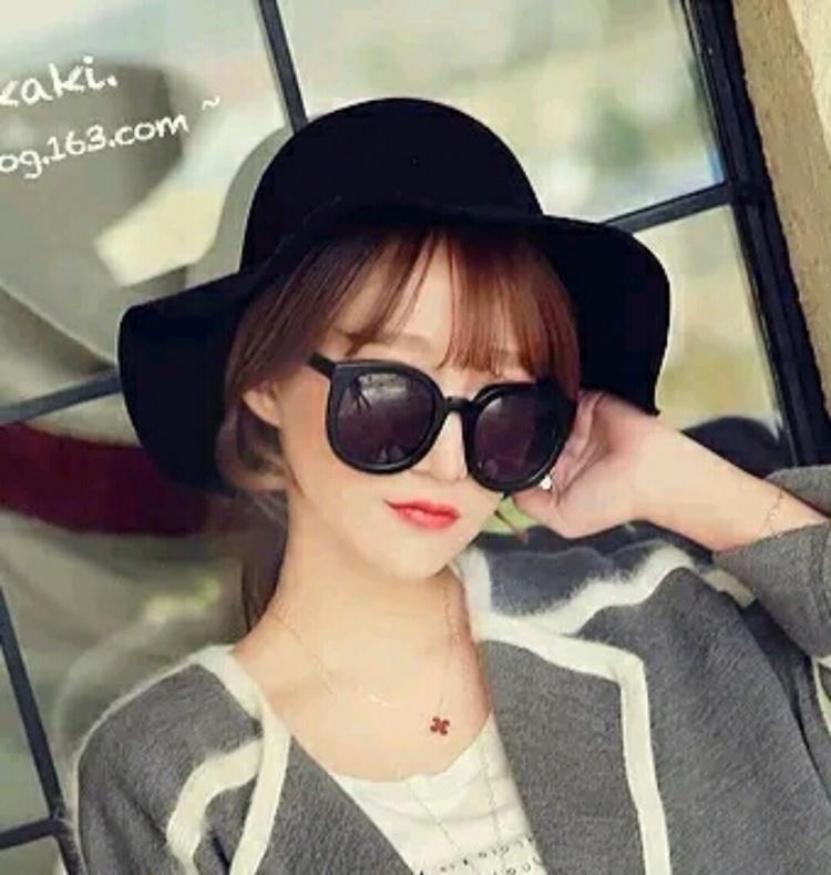 韩国时尚甜美可爱圆顶光板毛呢帽波浪边大檐帽礼帽子女韩版潮秋冬