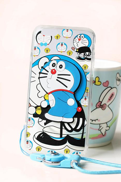 可爱卡通哆啦a梦立体夜光苹果手机壳3d带支架带挂绳叮当猫浮雕