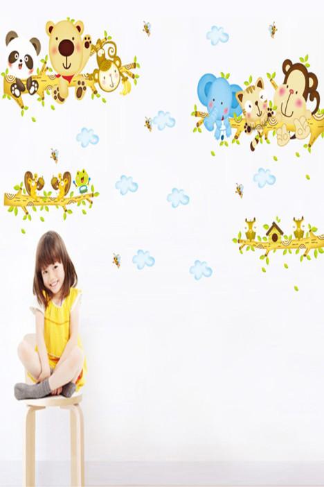 可移除儿童房装饰墙贴纸 动物爬树幼儿园卡通墙壁贴画