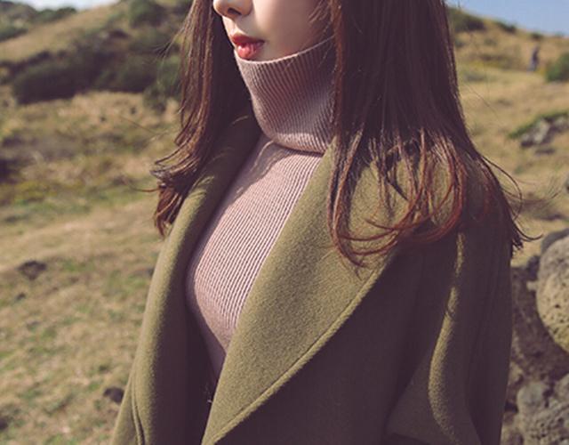 【小辣椒 时尚有型腰带长款宽松欧美毛呢外套】-衣服