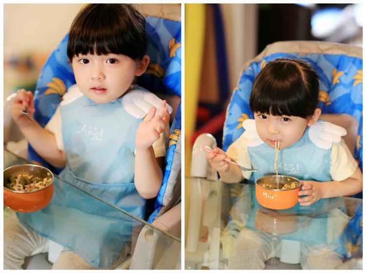 恶魔天使宝宝吃饭衣 儿童罩衣反穿衣