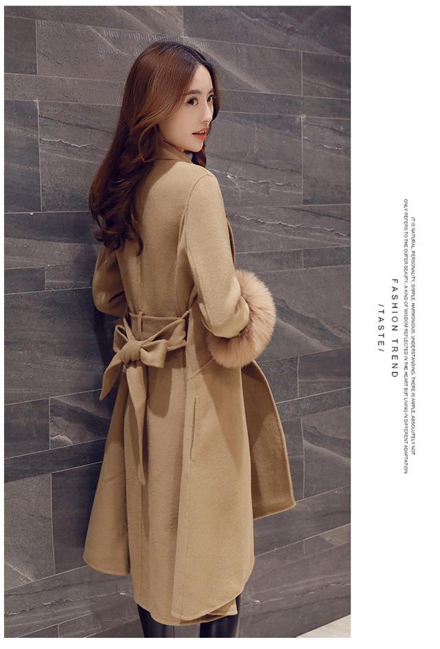 中国红本命年袖口真狐狸毛羊绒呢大衣收腰系带毛呢外套女休闲时尚