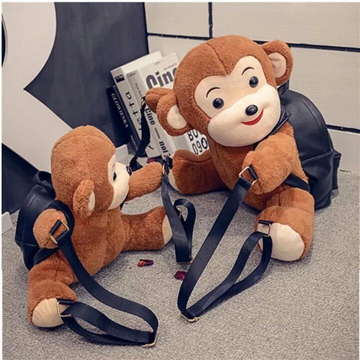 【2016新款东大门可爱呆萌猴子玩偶亲子情侣双肩包