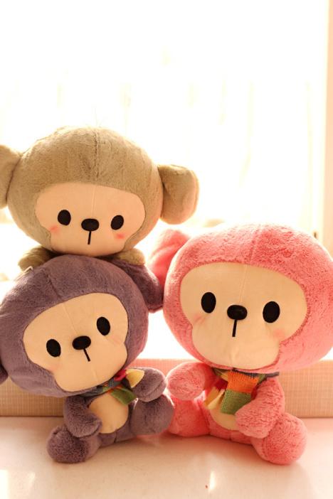 可爱大头小猴子公仔 彩色围巾猴毛绒玩具儿童玩偶布娃娃生日礼物