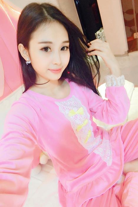 【秋冬季珊瑚绒长袖睡衣女可爱韩版加厚荷叶边蕾丝服