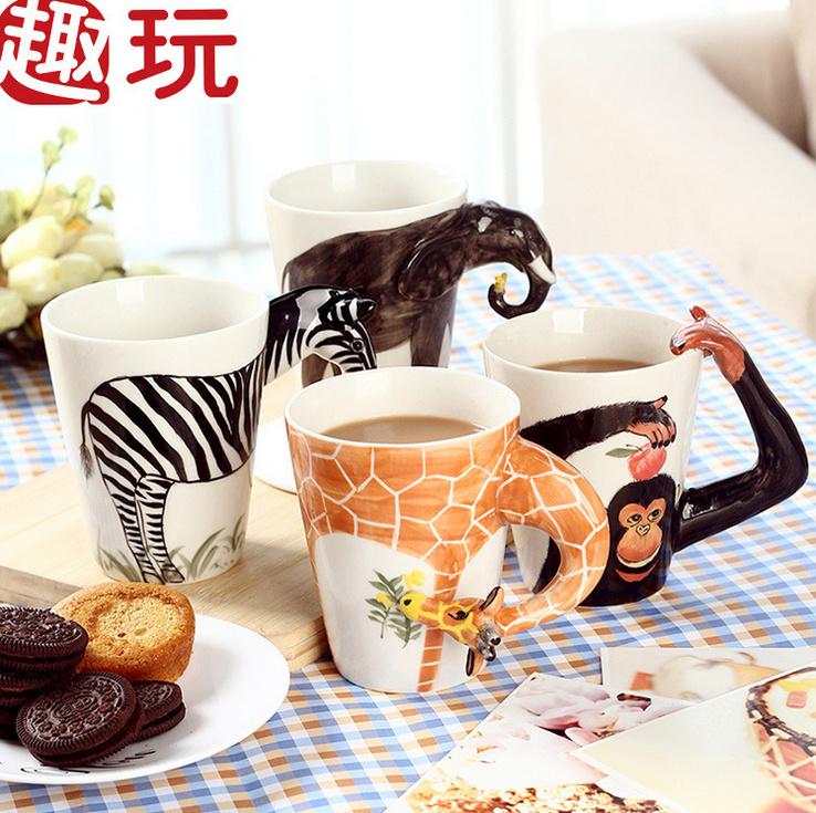 【3d立体纯手绘卡通动物陶瓷杯】-null-百货