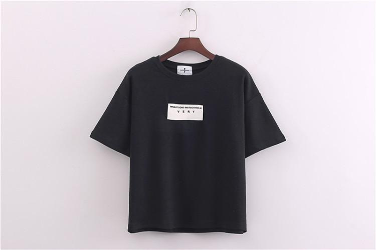 韩国简约英文贴布t恤