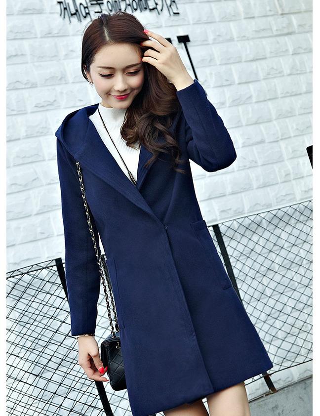 新款韩国中长款连帽加厚羊毛呢子大衣