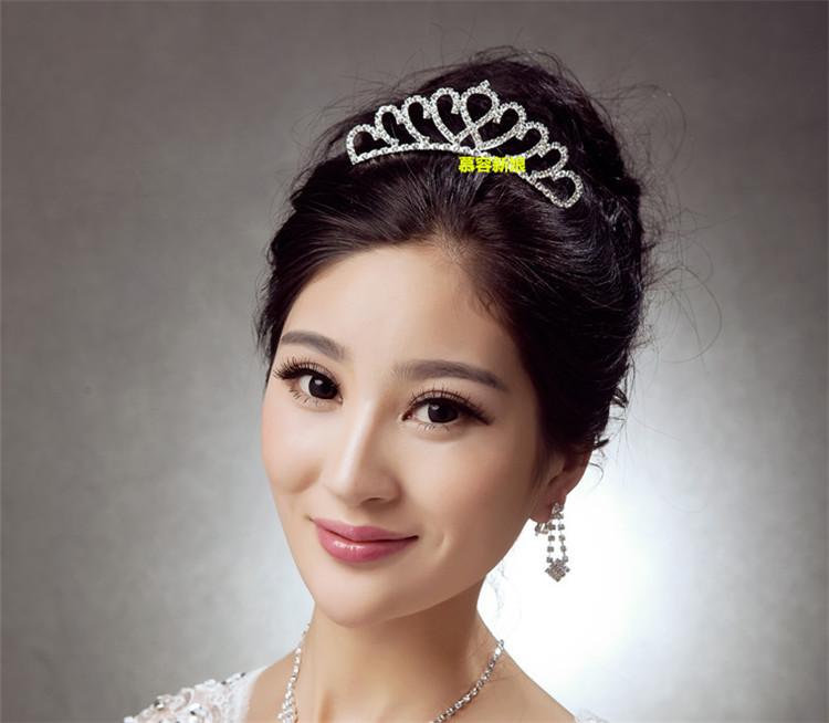 结婚新娘皇冠头饰新娘饰品日韩式盘发大号欧式公主水钻发箍发梳红