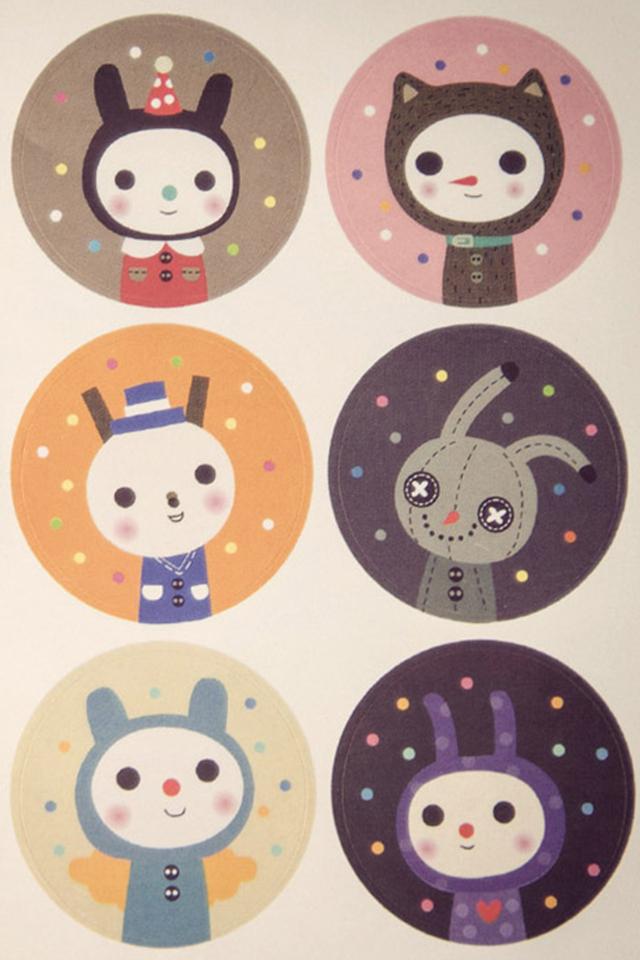【拾光间隔】可爱猫咪圆形装饰贴 韩国进口贴纸 18小枚入