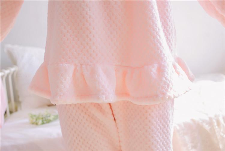【日韩可爱花边蝴蝶结法兰绒睡衣套装】-无类目-女士