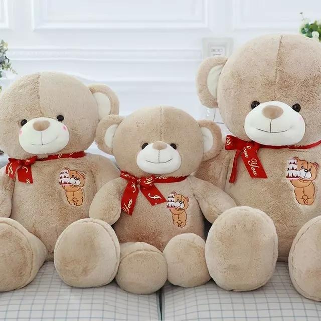 【萌萌哒~可爱红丝带熊毛绒玩具公仔】-null-百货