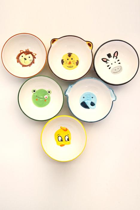 创意可爱动物手绘浮雕瓷儿童宝宝饭碗
