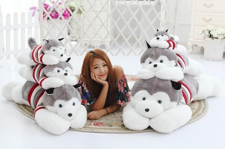 萌萌哒-哈士奇毛绒玩具狗可爱布娃娃狗狗公仔玩偶生日礼物女