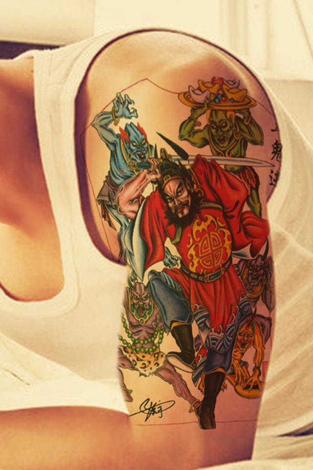 五鬼戏钟馗纹身手稿内容图片分享