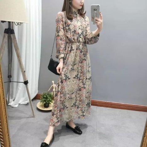 复古欧式花纹图案印花 立领连衣裙