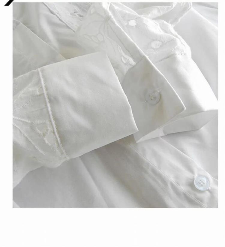 【韩国时尚钩花镂空白色衬衫】-衣服-服饰鞋包