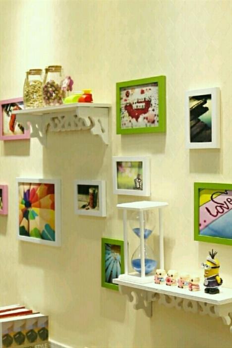 【炫彩10框简约置物架客厅欧式照片墙挂墙相框背景墙