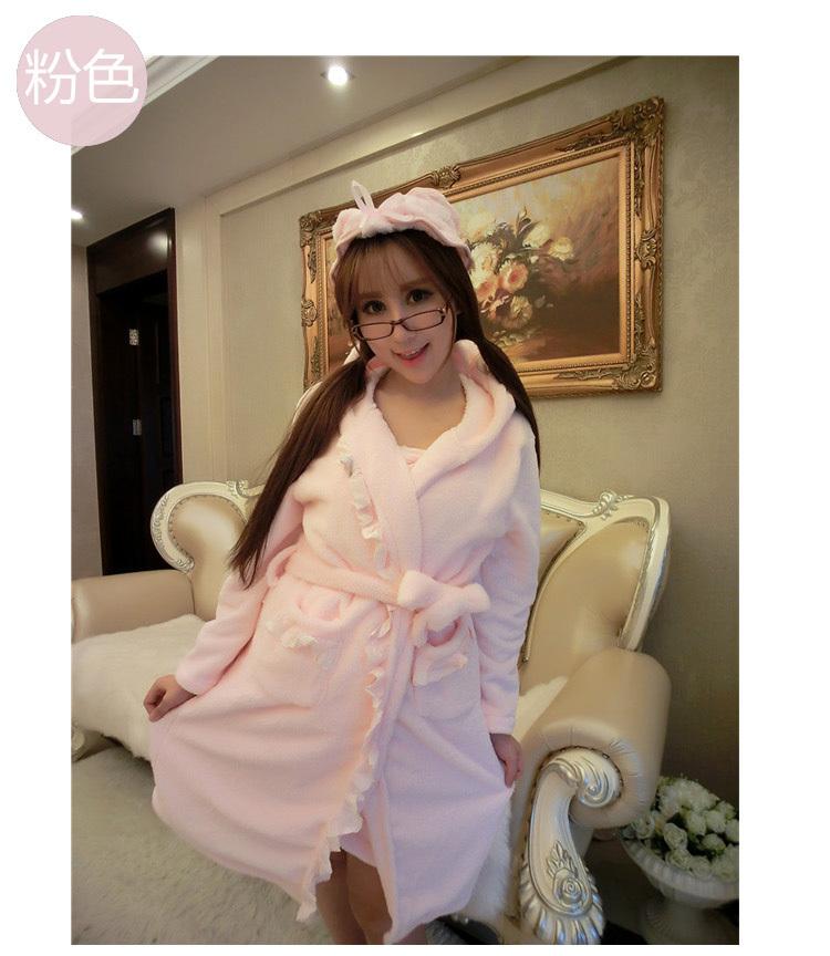 秋冬季 女珊瑚绒性感抹胸睡袍家居睡衣可爱蝴蝶结浴巾浴袍两件套