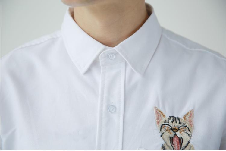 成衣店 文艺小清新小猫刺绣衬衫
