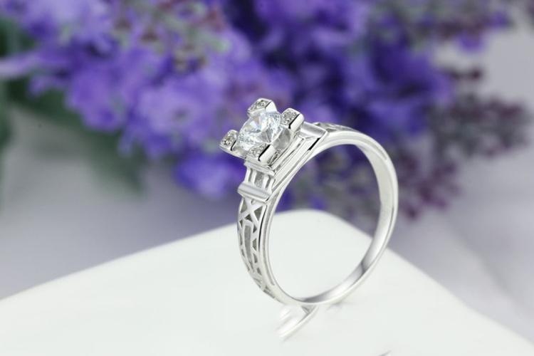 【925纯银巴黎埃菲尔铁塔戒指开口可调节戒指