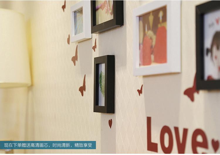 【客厅钟表心形欧式照片墙相片墙挂墙相框背景墙】