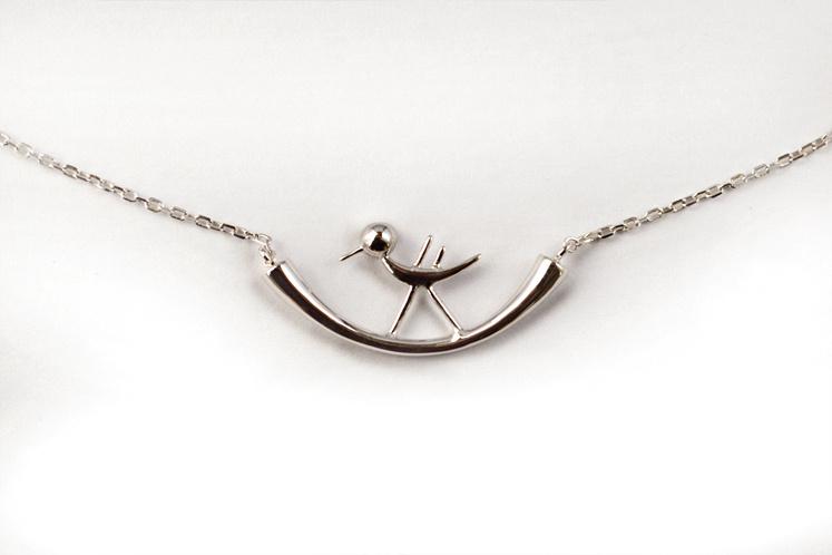 壹克网 中国设计师 尚末 笨鸟系列 925银镀金起飞小鸟项链