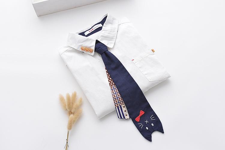 森女系可爱猫咪刺绣领带翻领学生衬衫