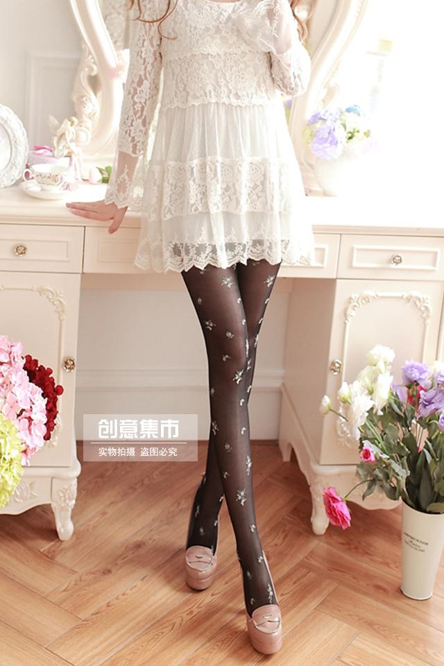 甜美洛丽塔复古花簇花柄连裤袜