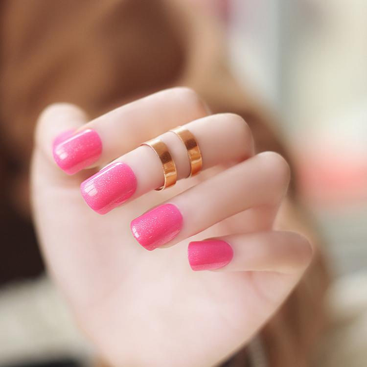 糖果纯色短款可爱假指甲玫红色